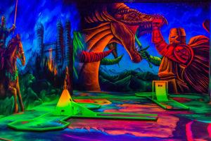 Grafik Ritter kämpft mit einen Drachen